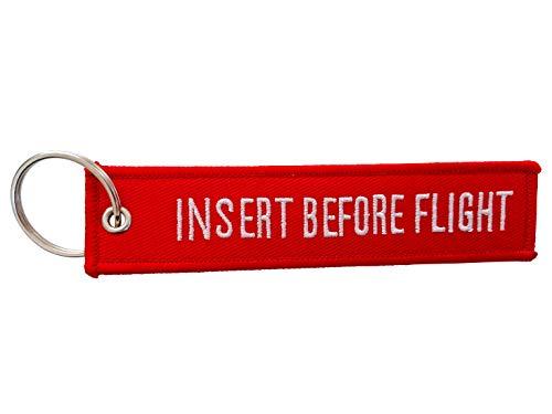 DonJordi Schlüsselanhänger INSERT BEFORE FLIGHT - Das Geschenk für Piloten, Motorradfahrer, Biker & Flugbegleiter