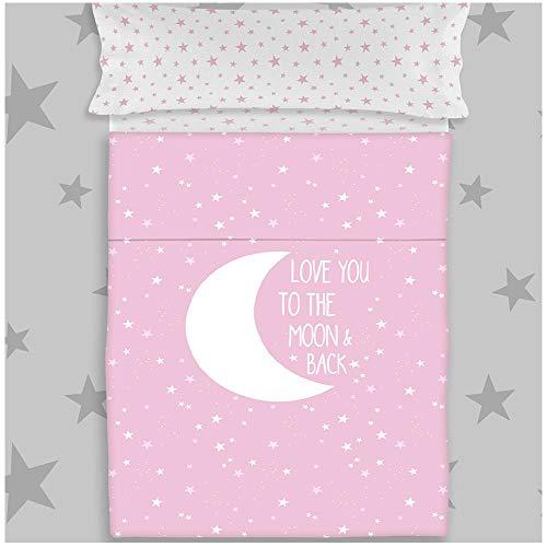 COTTON ARTean Juego de sabanas Infantil/Juvenil Moon Pink Cama de 90 x 190/200. 100%...
