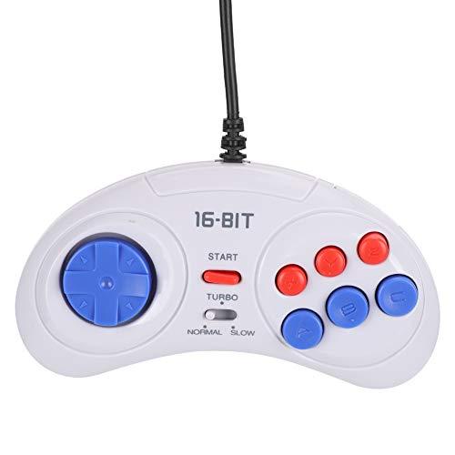 Queen.Y Mini Consola de Juegos Portátil de 16 Bits Y 9 Pines Controlador de Juegos Duradero Ergonómico Blanco para Juegos de Sega