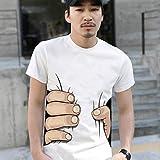 Nordira T-Shirts pour Homme, Mode d'été 3D Big Hand Print T-Shirt à Manches Courtes col Rond Blanc L 1 Couleur
