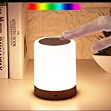 Touch Night Light, Portable Touch Sensor Table Lamp with Dimmable Warm White Light & RGB Color Changing Light, Rechargeable Internal Battery Powered Bedside Lamp 360 Degrees Light, with Metal Hook