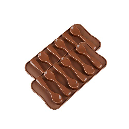 YUGHGH Small Spoon Shape Molds Food Grade Silicone Cake Molds Chocolate Ice Jelly Mold Party Decor Homemade Cupcake Candy Bake Ware Baking Tools 3.85 inch5.62 inch0.55inch… (Brown 2PC)
