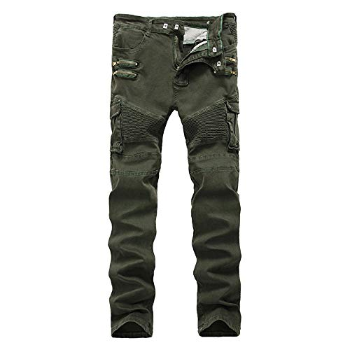 MaoDaAiMaoYi heren vouwbaar slim fit moto fietser jeans jaargang denim strekken broek mode living cargobroek jeanbroek met multi-tas