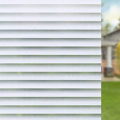 Shackcom Fensterfolie Sichtschutz Selbsthaftend Blickdicht 44.5x200cm Milchglasfolie Sichtschutzfolie Statisch Haftend Anti-UV Dekorfolie mit Streifen Jalousette Muster für Wohnzimme Badezimmer-J007