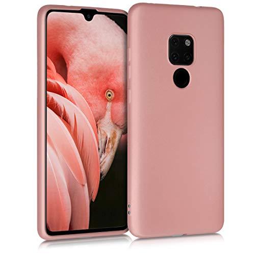 kwmobile Cover Compatibile con Huawei Mate 20 - Protezione Back Case Silicone TPU Effetto Metallizzato - Custodia Morbida Oro Rosa Metallizzato