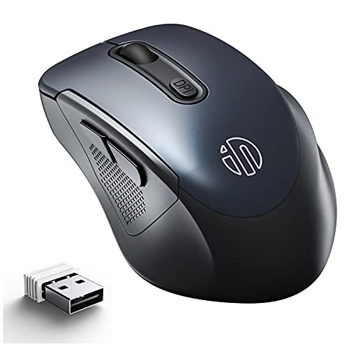 Mouse senza fili,INPHIC Ergonomico 2.4G Wireless Mouse per computer con ricevitore USB,2400 DPI regolabile,6 Bottoni Mouse senza fili per Laptop PC Desktop,Windows Mac OS,12 Durata della batteria,Nero