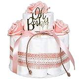 Windeltorte in Pink mit Blumen | Modern | Oh Baby | Windelkönig | Geschenk zur Geburt, Babyparty & Taufe (pink, klein)