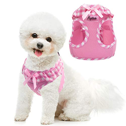 PUPTECK Checkered Frills Soft Mesh Dog Vest Harness Puppy Padded Pet Harnesses for Cat Small Dogs (S: Chest 12-12.6