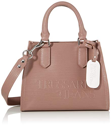 Trussardi Jeans T-Tote SM Saffiano High Freque, Borsa Donna, Rosa (Dark Pink), 10x20x25 cm (W x H x L)