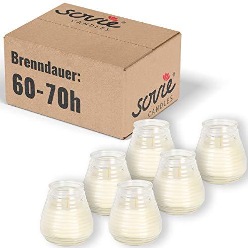 Sovie Candles Glaswindlicht Flairlight für schönes Ambiente | Kerzen Brenndauer ca. 60-70 Std. | Feier Tischdekoration Gastronomie 6 Stück im Tray (Transparent