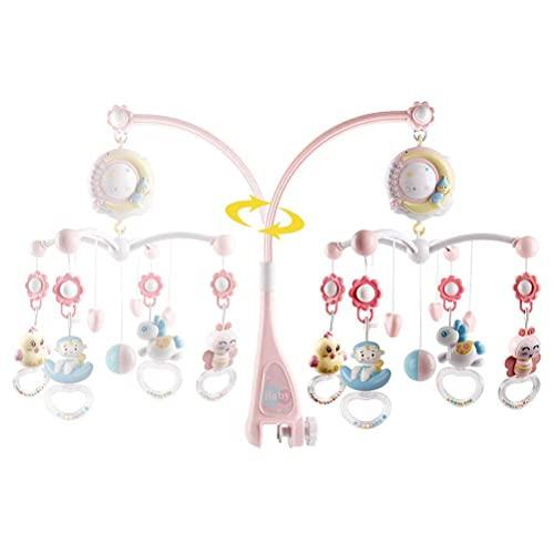 Sonajeros con estrellas, luz intermitente, móvil bebé para cuna con música, móvil cuna con luz nocturna y proyector, campana giratoria colgante G caja de música para niños, recién nacidos y bebés