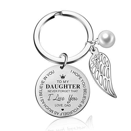 to My Daughter Keychain from Dad Mom Inspirational Gift Never Forget That I Love You Forever Birthday Gift Graduation Gifts (To my daughter from dad)