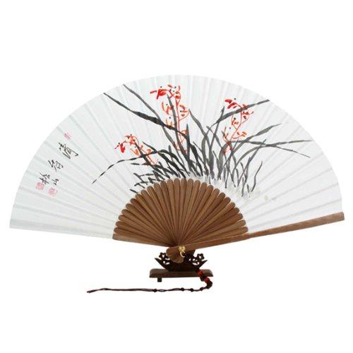 Peint à la main pliable Rouge Orchidée Peinture coréen riz blanc papier mûrier Bambou en bois art asiatique Oriental mur deco portatif Ventilateur