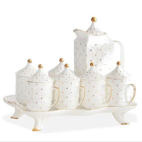 CHSSC Set di tazze da Latte 8 pezzi, Set da tè per adulti Set da caffè in Ceramica dipinta a Mano, servizio da tè per matrimoni per adulti Set di tazze con coperchio e vassoio