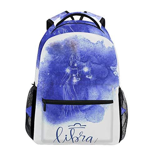 Jeansame Rucksack Schultasche Laptop Reisetaschen für Kinder Jungen Mädchen Damen Herren Astrologie Sterne Sternbild Waage