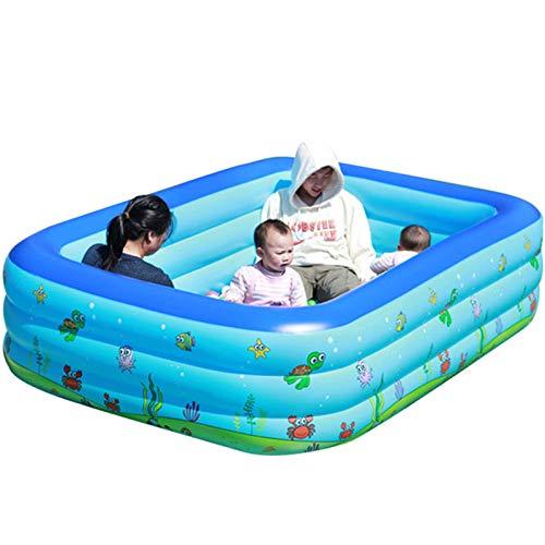 hhh Piscina Inflable Familiar,Antideslizante Portátil Jardín De Verano Exterior Piscina Niños para Centro Natación Backyard Water Party-Azul 150cm