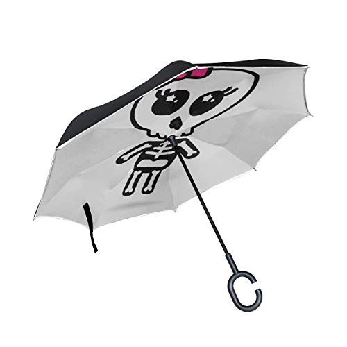 Double Layer Inverted Klappstühle Regenschirm Niedliche Kawaii Skelett Halloween Reverse Umbrellas Damen Klappschirm Winddichter UV-Schutz für Regen Mit C-förmigem Griff