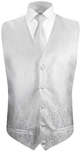 Paul Malone Hochzeitsweste + Krawatte weiß barock - Bräutigam Hochzeit Herren Weste Gr. 54 L