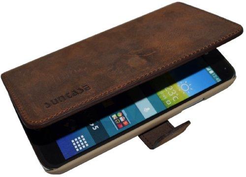 Book-Style Ledertasche Tasche für Samsung Galaxy S5 Neo (SM-G903F) *ECHT LEDER* Handytasche Case Etui Hülle (Original Suncase) in antik - coffee
