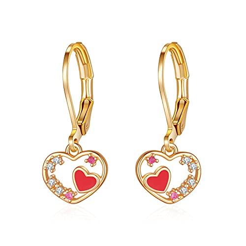 Zirconia cúbica en oro rosa, oro blanco y oro amarillo, pendientes colgantes con forma de corazón para mujeres y niñas, cumpleaños