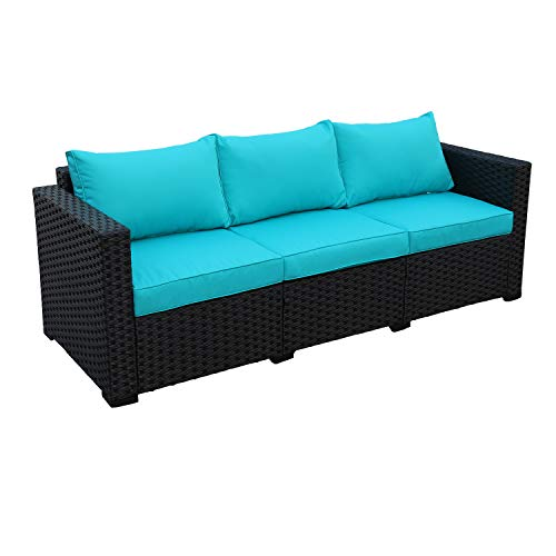 Patio PE Wicker Couch - 3-Seat Outdoor Black Rattan Sofa Furniture with Turquoise Cushion