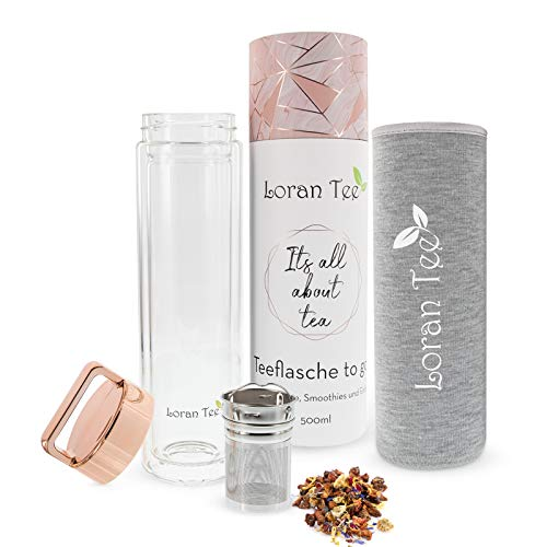 Loran - Teeflasche Teamaker mit Sieb to go 500 ml | Doppelwandig | Isoliert | Glasflasche mit Edelstahl Sieb | Trinkflasche mit Filter | Rose - Goldener Deckel | BPA-frei Thermoflasche