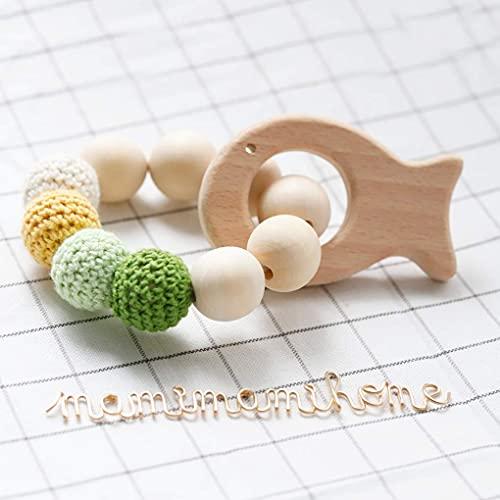 Mamimami Home Enfermería mordedor de madera natural pulsera de bebé bebé Teethers Perlas de ganchillo peces elefante de madera juguetes para bebés Sonajero Mordedor Juguete