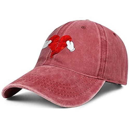 Broken Heart Denim Trucker Hats for Men Women-Novelty Ball Sun Cap Snapback Adjustable