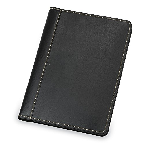 Samsill Contrast Stitch Leather Small Portfolio – Junior Portfolio Folder/Business Padfolio for Men & Women, 5 x 8 Mini Writing Pad, Black