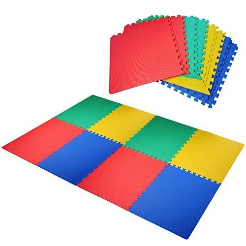 Outsunny HOMCOM Tappeto Gioco Bimbi 60x60cm Set 8 Pezzi, Materiale Isolante, Resistente all'umidità Multicolori