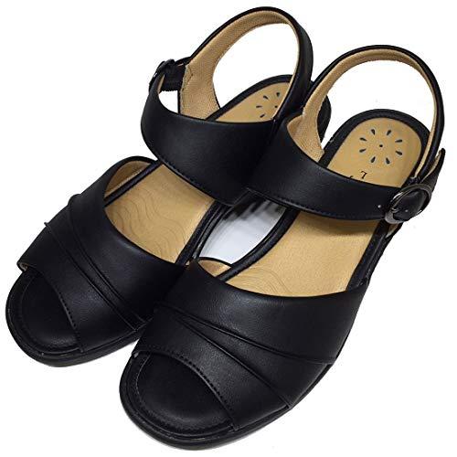 [パンジー] サンダル レディース 軽量 バックストラップ ヘップ 軽い 靴 オフィス履き 事務所 室内履き 玄関履き オフィス シューズ オフィスサンダル 女性 婦人(S【22.0-22.5】 ブラック【即納】)