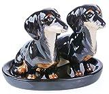 B2SEE Ltd - Juego de salero y pimentero (cerámica, 3 piezas), color negro