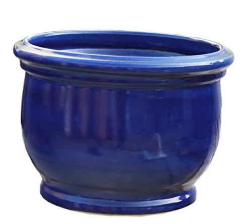 Hentschke Keramik Pflanztopf/Pflanzkübel frostsicher Ø 25 x 19 cm, Effekt blau, 040.025.64 Blumenkübel für Draußen + Innen - Made in Germany