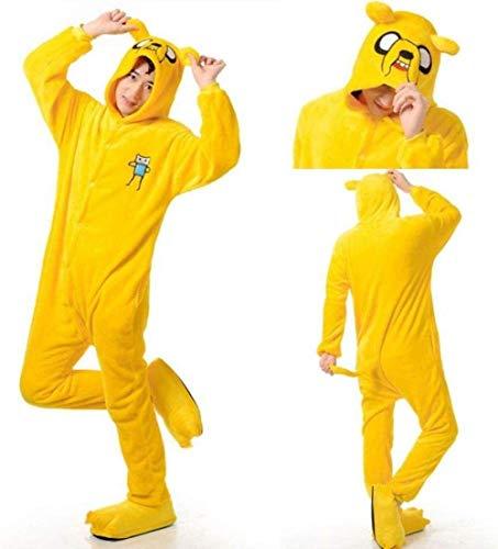 Adulto Finn y Jake Onesies Aventura Disfraz Amarillo Perro Pijamas Animal Partido de Halloween Partidos Kigurumi Nixx0 (Color : Jake, Size : X-Large)