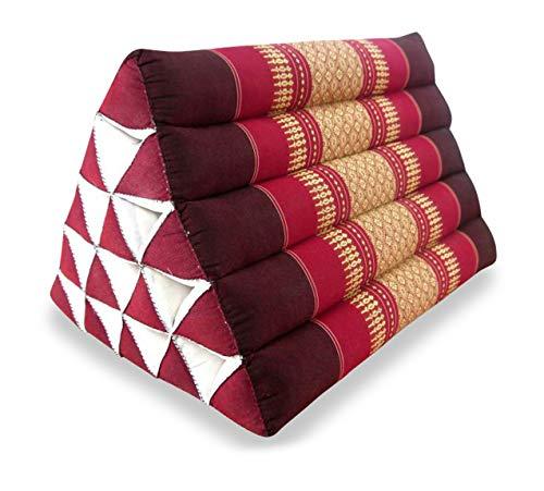 livasia Großes Dreieckskissen als Rückenstützkissen, Thaikissen BZW. Keilkissen, Nackenkissen fürs Bett (rubinrot)