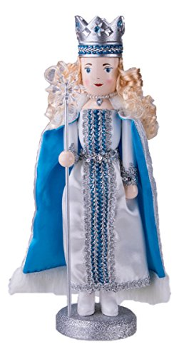"Clever Creations Traditional Wooden Collectible Snow Queen Christmas Nutcracker | Festive Christmas Decor | 100% Wood | 14"" Tall Perfect for Shelves and Tables"