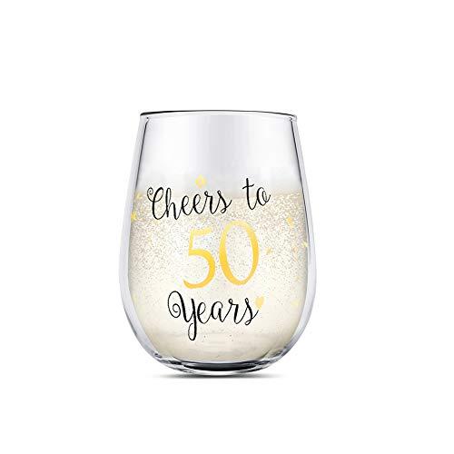 50 cumpleaños divertido Copas de vino sin tallo de oro Regalos para mujeres hombres Regalos para el mejor amigo Aniversario de bodas de fiesta Decoraciones de fiesta (50)