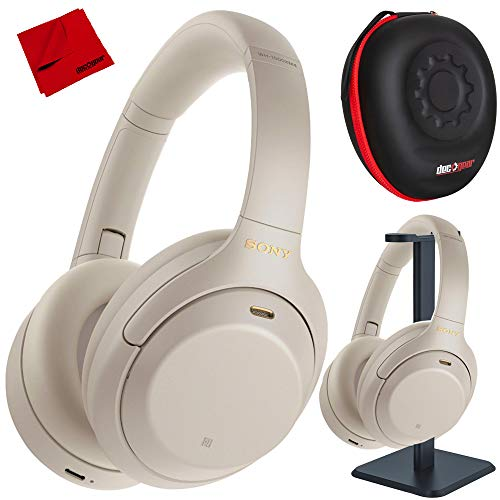 Sony WH1000XM4/S Premium Noise Cancelling Wireless Over-The-Ear Headphones with Built in Microphone Silver Bundle with Deco Gear Premium Hard Case + Pro Audio Headphone Stand + Microfiber Cloth