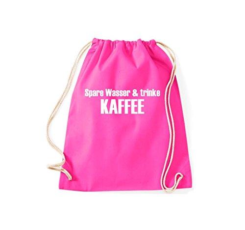 Turnbeutel Spare Wasser & trinke Kaffee Gymsack Kultsack pink