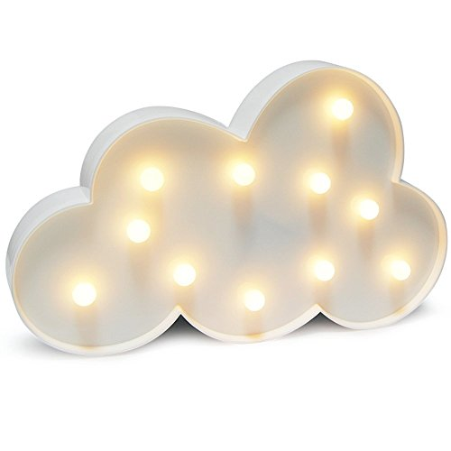 Glintee Cloud LED Night Light Table Lamp for Party Birthday Wedding Atmosphere,Battery Operated Decorative Marquee Signs Light Nursery Lamp for Bedroom and Wall Decoration(Cloud)