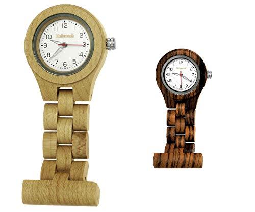 Handgefertigte Holzwerk Germany® Schwestern-Uhr Taschen-Uhr Ansteck-Uhr Puls-Uhr Kittel-Uhr Pflegeuhr-Uhr Öko Natur Holz-Uhr Ahorn Braun Weiß Krankenschwester-Uhr Analog Klassisch Quarz-Uhr