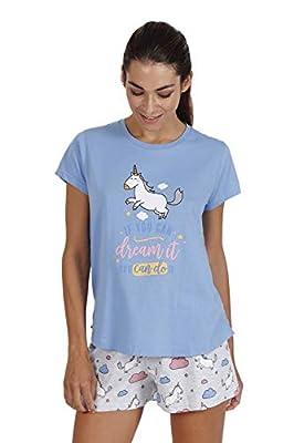 MR WONDERFUL Pijama Manga Corta Unicornio para Mujer
