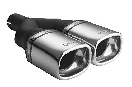 Auspuffblende Endrohr N2-24/65 Doppelendrohr Doppelrohr 2x 100x75mm eckig Auspuff Sportauspuff Optik Blende Edelstahl Anschluß 65mm