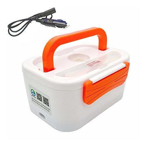 12 V universeel servies set met elektrische verwarming, geschikt voor auto, picknick, levensmiddelcontainer met schep, oranje