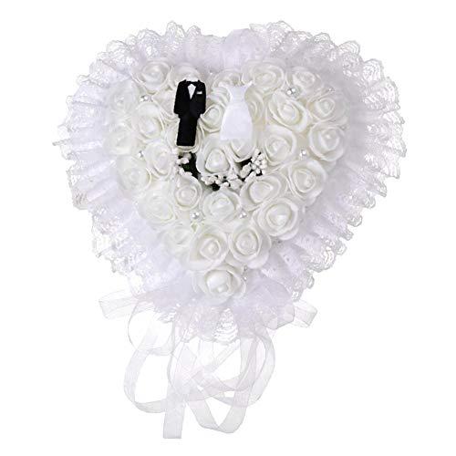 Elegante witte ringkussen kussen hartvorm bruiloft hart ring doos kussen houder doos(wit)