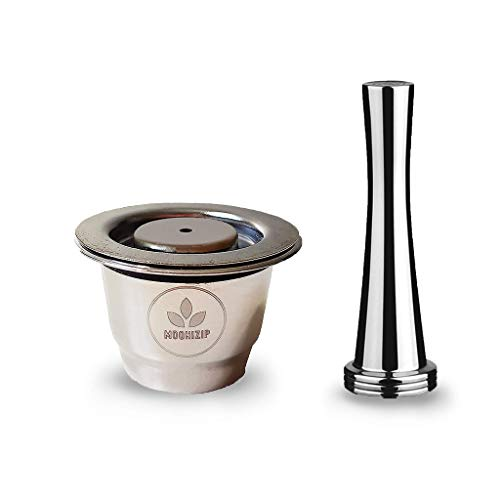 Moonizip ZERO - Capsule di caffè ricaricabili in acciaio inox per Nespresso (1 capsula + 1 tazza) + Ebook in omaggio