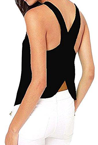 Minetom Femmes Sexy Tank Top Dos Nu Solide Couleur Mousseline De Soie Chemise sans Manches Shirts Crew Gilet (Noir FR 36)