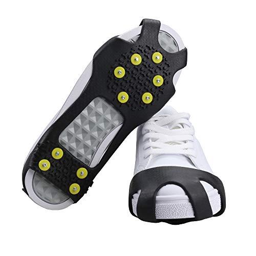 BiBiFly - 10 dientes de hielo y nieve, antideslizantes, para invierno, calzado, tracción, crampones, clavos deslizantes, botas para esquí, nieve, senderismo, correr, etc.