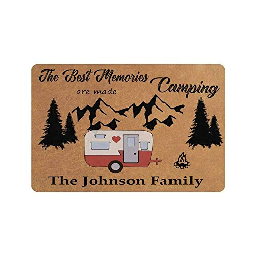 """MyPhotoSwimsuits Personalized Your Family Name Custom Happy Camper Doormat 24"""" X 16"""" Indoor Outdoor with The Best Memories are Made Camping Funny Entrance Welcome Door Mat Area Rug Decor"""