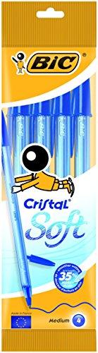 BIC Cristal Soft - Bolígrafos de punta media (1.2 mm), blíster de 4 unidades, color azul, para escritura suave